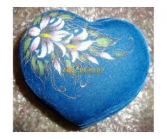 Шкатулка (керамика) большая синяя с цветком, новая, красивая, ткань-бархат